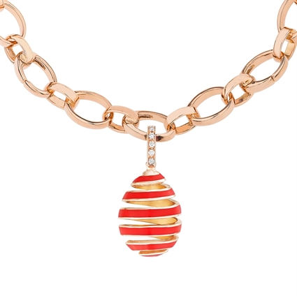 Faberge Egg Charm – Spiral Red Enamel Rose Gold Charm