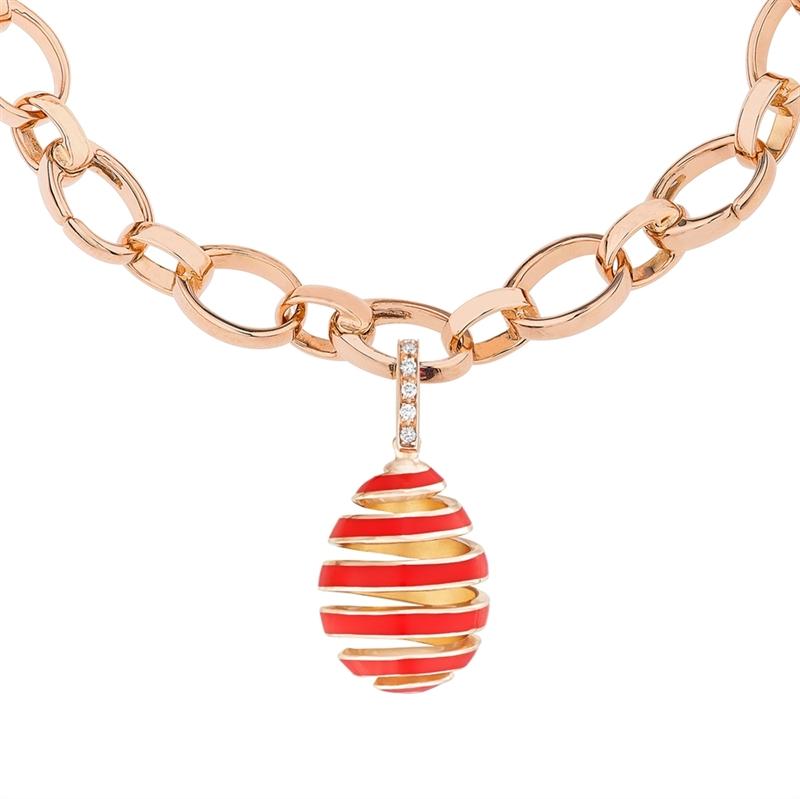 Rose Gold, Diamond & Red Enamel Spiral Egg Charm   Fabergé