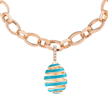 Faberge Egg Charm – Spiral Blue Enamel Rose Gold Charm