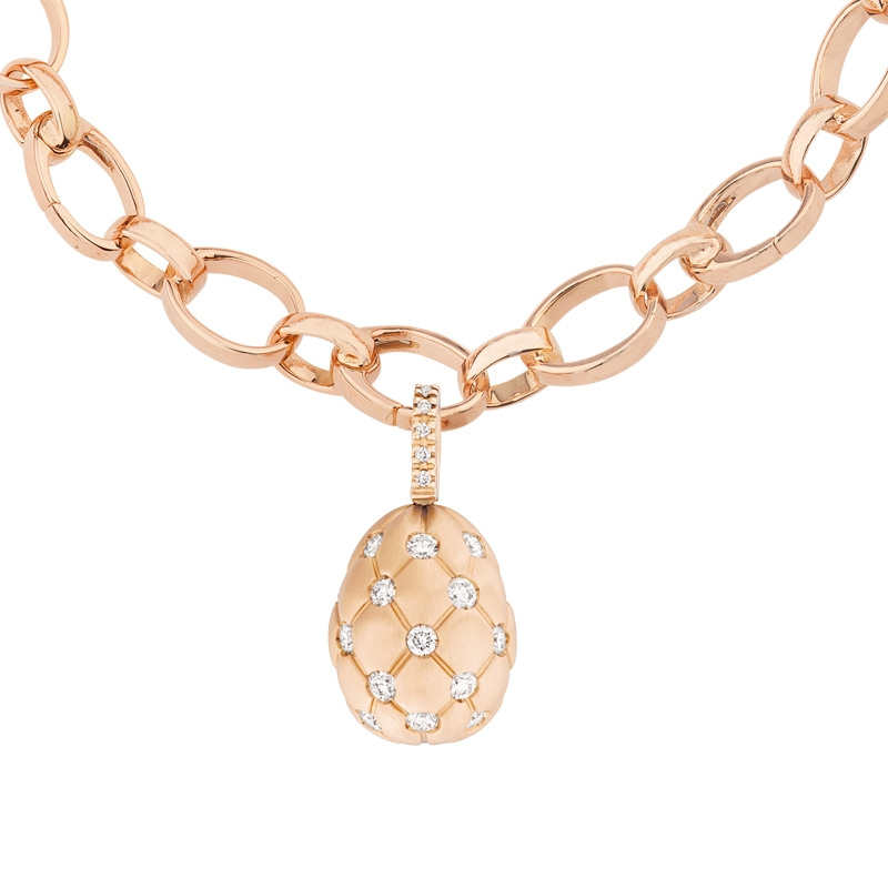 Faberge Egg Charm – Treillage Diamond Rose Gold Matt Charm