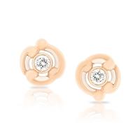 Gold Stud Earrings - Rococo White Enamel Rose Gold Stud Earrings