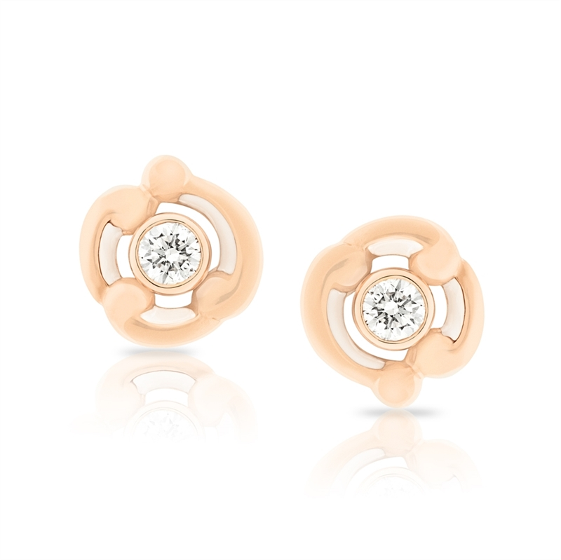 White Enamel, Diamond & Rose Gold Stud Earrings | Fabergé