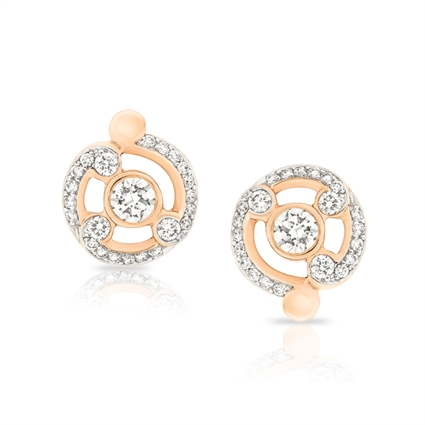 Fabergé Rococo Pavé Diamond Rose Gold Stud Earrings