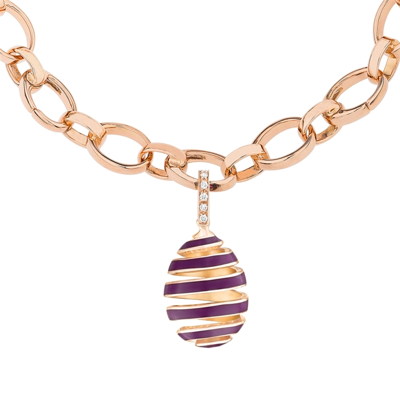 Rose Gold, Diamond & Purple Enamel Spiral Egg Charm   Fabergé
