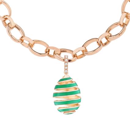 Rose Gold, Diamond & Green Enamel Spiral Egg Charm | Fabergé