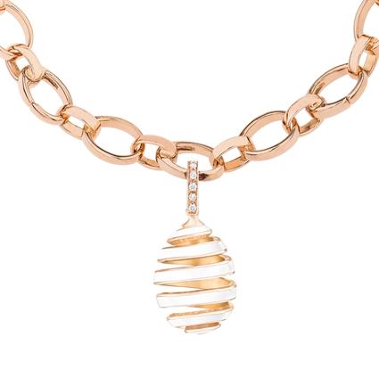 Rose Gold, Diamond & White Enamel Spiral Egg Charm   Fabergé