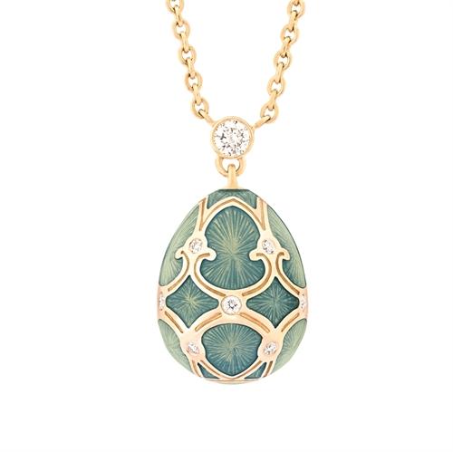 Yellow Gold Diamond & Turquoise Guilloché Enamel Petite Egg Pendant  | Fabergé