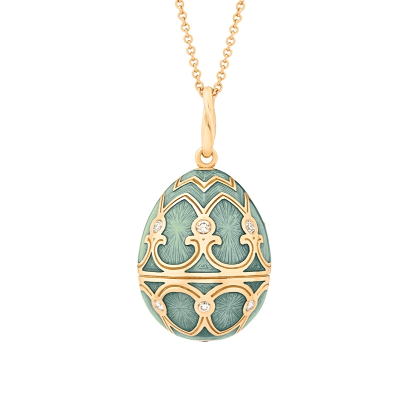 Yellow Gold Diamond & Turquoise Guilloché Enamel Egg Pendant | Fabergé