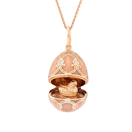 Rose Gold Diamond & Pink Guilloché Enamel Hen Surprise Locket | Fabergé