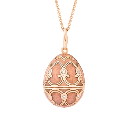Pink Guilloché Enamel, Diamond & Rose Gold Fabergé Egg Pendant