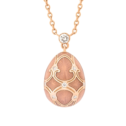 Rose Gold Diamond & Pink Guilloché Enamel Petite Egg Pendant | Fabergé
