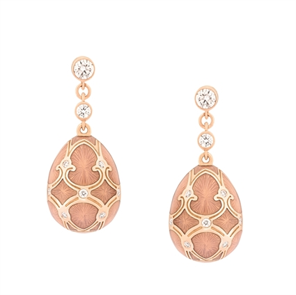 Rose Gold Diamond & Pink Guilloché Enamel Egg Drop Earrings | Fabergé