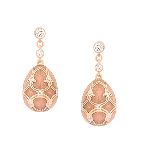 Palais 18K Rose Gold Diamond Drop Earrings With Pink Guilloché Enamel