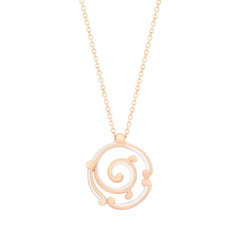 Fabergé Rose Gold Pendant - Rococo White Enamel Rose Gold Pendant