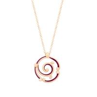 Fabergé Rose Gold Pendant - Rococo Purple Enamel Rose Gold Pendant