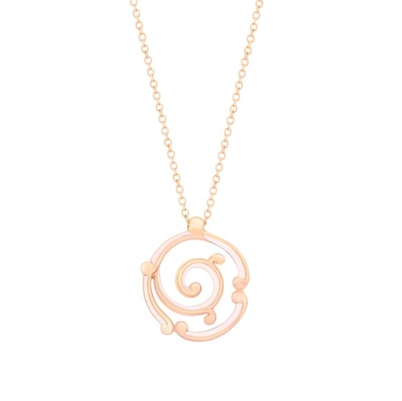 Fabergé Rose Gold Pendant - Rococo Pink Enamel Rose Gold Pendant