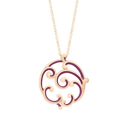 Egg Pendant Necklace – Fabergé Rococo Purple Enamel Rose Gold Large Pendant