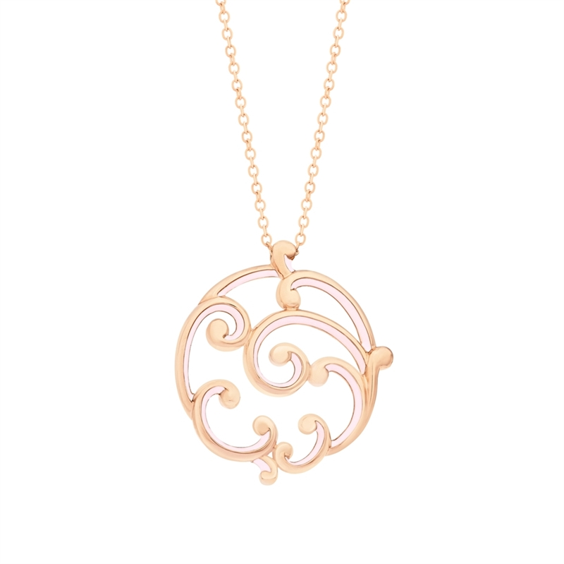 Rose Gold and Pink Enamel Pendant – Rococo Pink Enamel Rose Gold Large Pendant