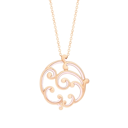 Rose Gold and Pink Enamel Pendant – Rococo Pink Enamel Rose Gold Large Pendant