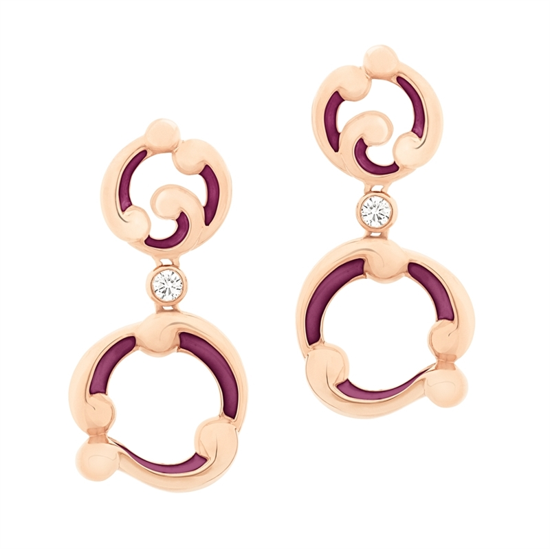 Rose Gold and Purple Enamel Drop Earrings – Rococo Purple Enamel Rose Gold Drop Earrings