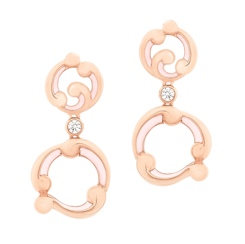 Rose Gold and Pink Enamel Drop Earrings – Rococo Pink Enamel Rose Gold Drop Earrings