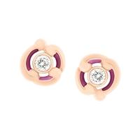 Gold Stud Earrings - Rococo Purple Enamel Rose Gold Stud Earrings