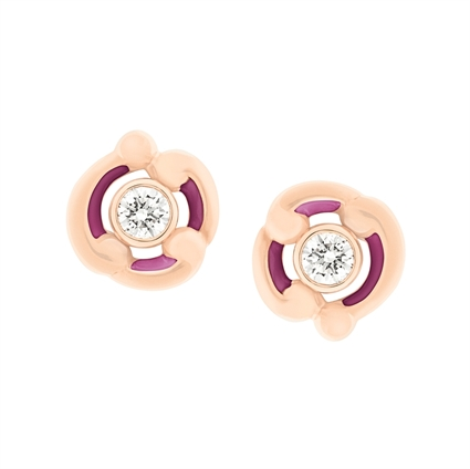 Purple Enamel & Rose Gold Stud Earrings | Fabergé