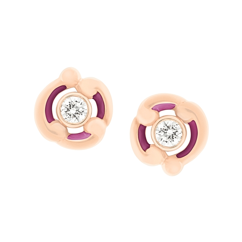Gold Stud Earrings - Rococo Purple Enamel Rose Gold Stud Earrings