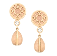 Yellow Gold, Diamond and Pink Enamel Drop Earrings – Heritage White Enamel Yellow Gold Drop Earrings