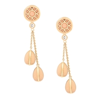 Gold and Diamond Long Drop Earrings – Heritage White Enamel Yellow Gold Long Drop Earrings