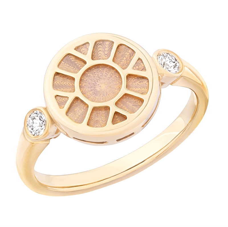 Gold Ring – Heritage White Enamel Yellow Gold Ring