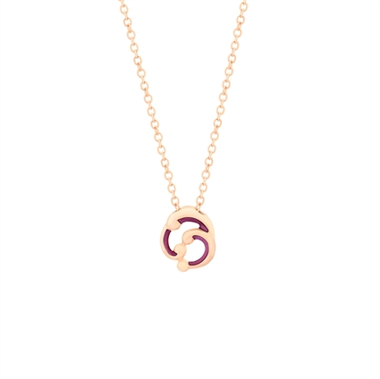 Small Rose Gold and Purple Enamel Pendant Necklace – Rococo Purple Enamel Rose Gold Small Pendant