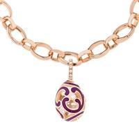 Fabergé Egg Charm - Rococo Purple Enamel Rose Gold Charm