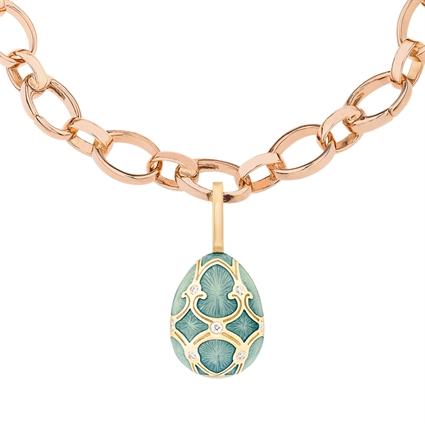 Yellow Gold Diamond & Turquoise Guilloché Enamel Egg Charm | Fabergé