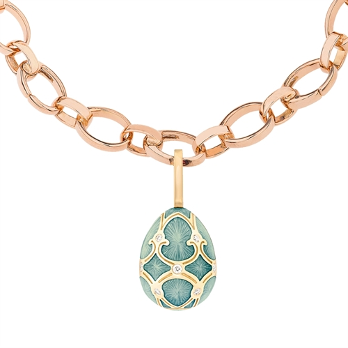 Palais 18K Yellow Gold Diamond Egg Charm With Turquoise Guilloché Enamel