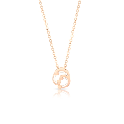 Small Rose Gold and White Enamel Pendant Necklace – Rococo White Enamel Rose Gold Small Pendant