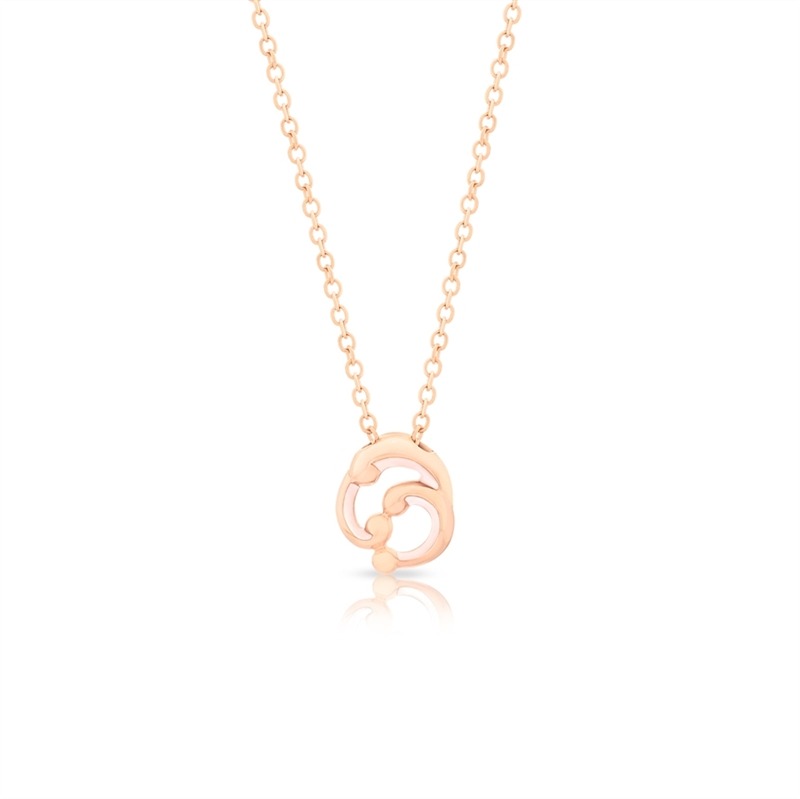 Small Rose Gold and Pink Enamel Pendant Necklace – Rococo Pink Enamel Rose Gold Small Pendant