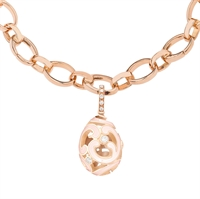 Fabergé Egg Charm - Rococo Pink Enamel Rose Gold Charm