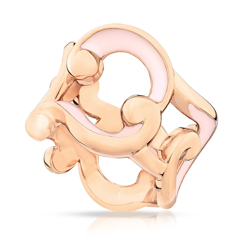 Rose Gold Wide Ring with Pink Cold Enamel – Rococo Pink Enamel Rose Gold Wide Ring