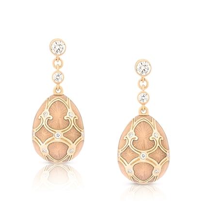 Yellow Gold Diamond & Pink Guilloché Enamel Egg Drop Earrings | Fabergé