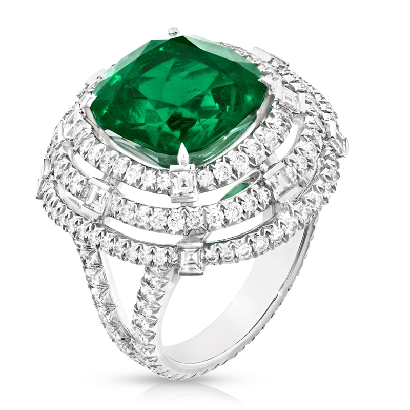 Cushion Cut Emerald Ring - Fabergé Fabergé Emerald Cushion Cut 9.10ct Ring