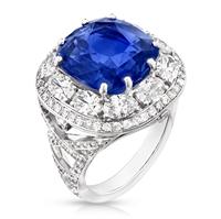 Sapphire Ring - Fabergé Sapphire Cushion Cut 10.33ct Ring