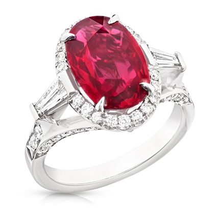 Platinum 4.02ct Oval Ruby Halo Ring Set With Diamonds | Fabergé