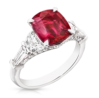 Ruby Cushion Cut Ring - Fabergé Ruby Cushion Cut 3.15ct Ring