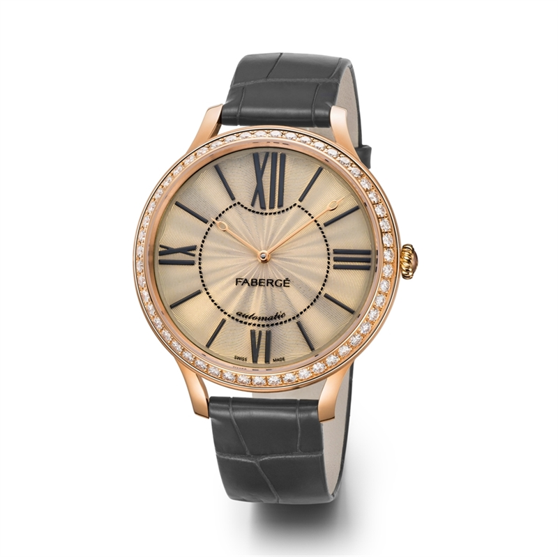 Women's Watch - Fabergé Flirt 39mm 18kt Rose Gold Watch – White Opalescent Enamel Dial