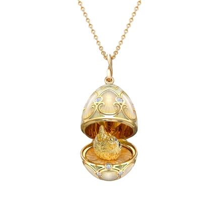Yellow Gold Diamond & White Guilloché Enamel Hen Surprise Locket | Fabergé