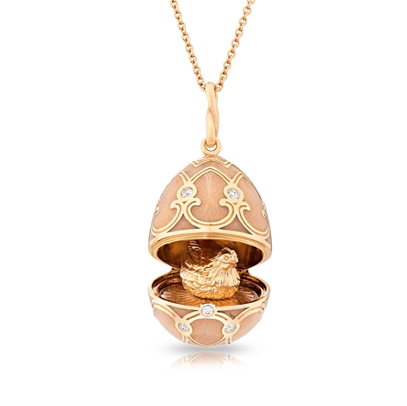 Fabergé Egg Locket Pendant – Palais Tsarskoye Selo White Locket Pendant