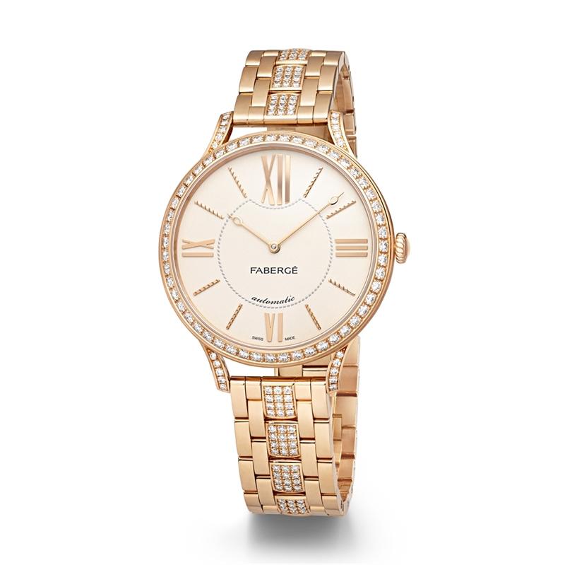 Men's Watch - Fabergé Flirt 39mm 18 Karat Rose Gold - Silver Dial