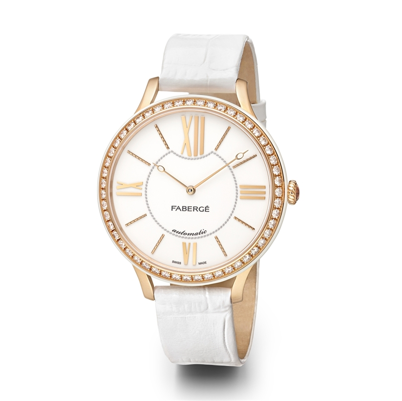 Women's Watch - Lady Fabergé 39mm 18kt Rose Gold Watch – White Dial