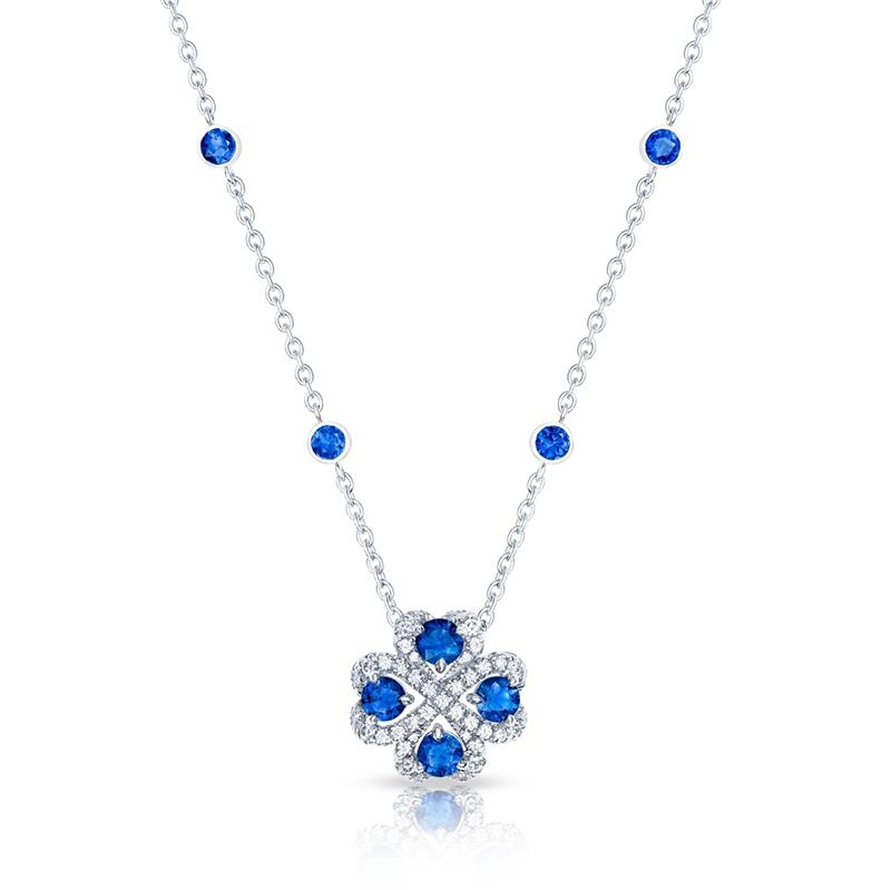Sapphire Pendant Necklace - Fabergé Quadrille Blue Sapphire Pendant
